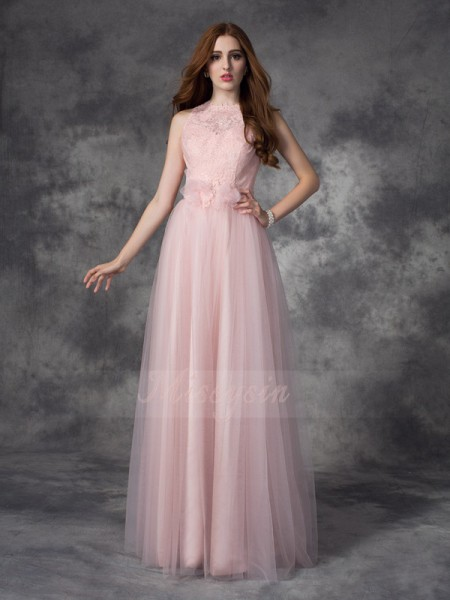 A-line/Princess Sleeveless Bateau Hand-Made Flower Floor-Length Net Dresses