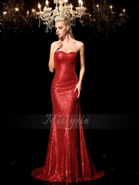Sheath/Column Sleeveless Sweetheart Sequin Sweep/Brush Train Sequins Dresses