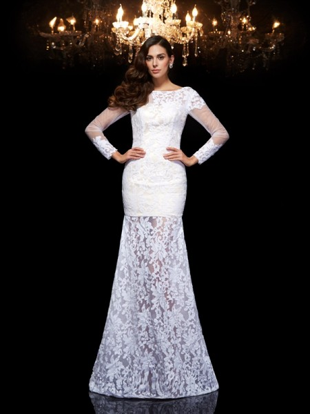 Trumpet/Mermaid 3/4 Sleeves Scoop Floor-Length Lace Dresses