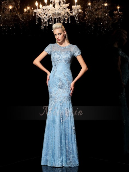 Sheath/Column Short Sleeves Sheer Neck Applique Floor-Length Lace Dresses