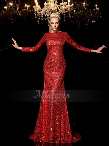 Sheath/Column Long Sleeves Scoop Sequin Sweep/Brush Train Sequins Dresses