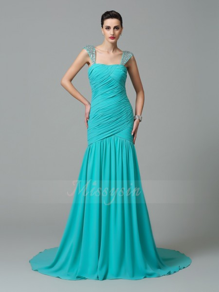 A-Line/Princess Sleeveless Straps Ruched Court Train Chiffon Dresses