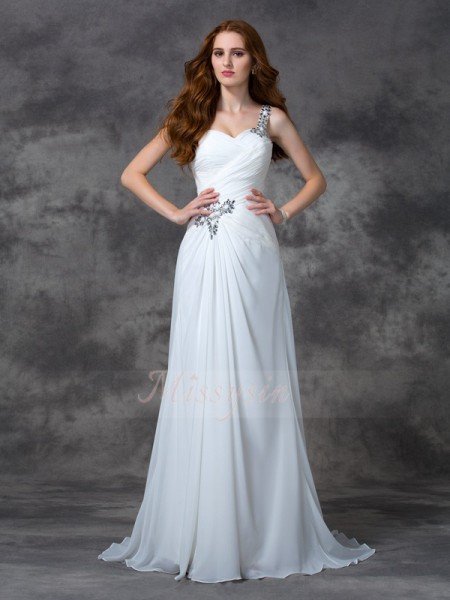 A-line/Princess Sleeveless One-Shoulder Beading Sweep/Brush Train Chiffon Dresses