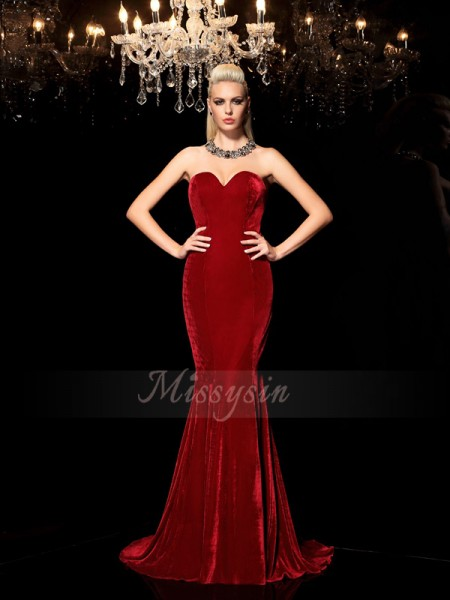 Sheath/Column Sleeveless Sweetheart Other Sweep/Brush Train Velvet Dresses