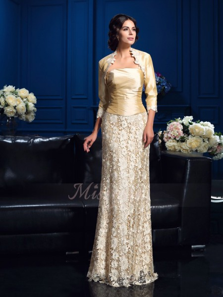 A-Line/Princess Sleeveless Strapless Floor-Length Lace Mother of the Bride Dresses