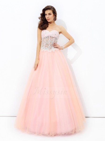 A-line/Princess Sleeveless Sweetheart Floor-length Net Dresses