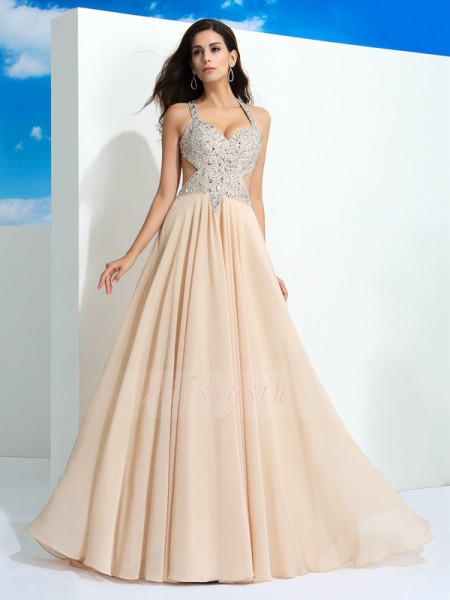 A-Line/Princess Sleeveless Straps Beading Sweep/Brush Train Chiffon Dresses