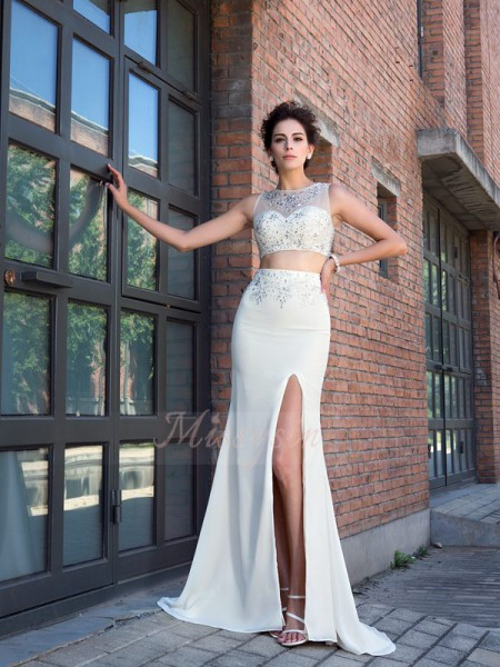 Sheath/Column Sleeveless High Neck Crystal Sweep/Brush Train Chiffon Dresses