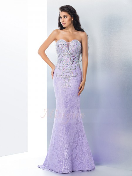 Trumpet/Mermaid Sleeveless Sweetheart Beading Sweep/Brush Train Lace Dresses