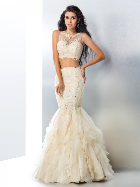 Trumpet/Mermaid Sleeveless Sheer Neck Beading Floor-Length Tulle Dresses