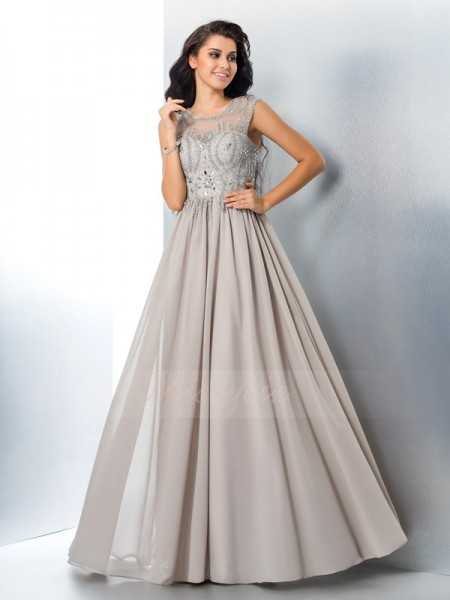 A-Line/Princess Sleeveless Sheer Neck Beading Floor-Length Chiffon Dresses