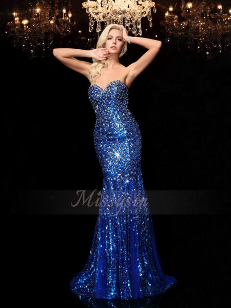 Trumpet/Mermaid Sleeveless Sweetheart Sequin Sweep/Brush Train Sequins Dresses