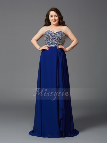 A-Line/Princess Sleeveless Sweetheart Rhinestone Sweep/Brush Train Chiffon Plus Size Dresses