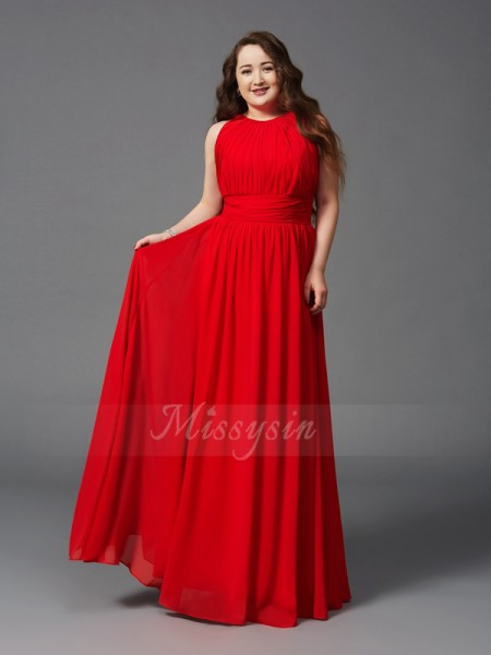 A-Line/Princess Sleeveless Jewel Ruched Floor-Length Chiffon Plus Size Dresses