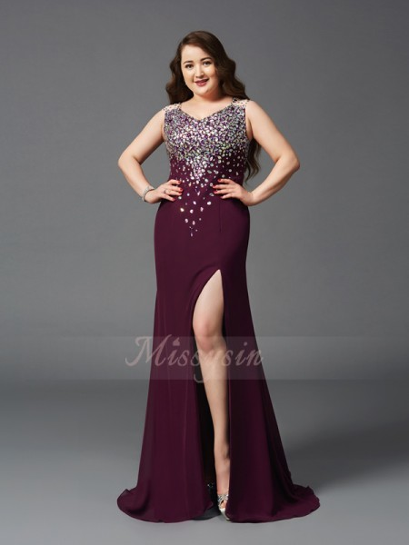 Sheath/Column Sleeveless Straps Rhinestone Sweep/Brush Train Chiffon Plus Size Dresses
