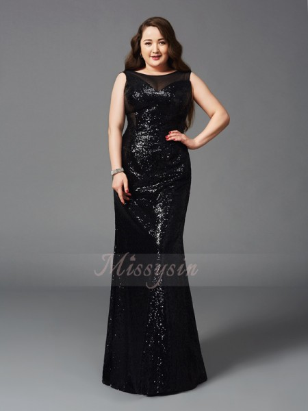 Sheath/Column Sleeveless Scoop Other Floor-Length Sequins Plus Size Dresses