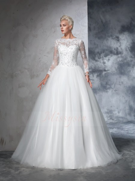 Ball Gown Long Sleeves Bateau Sweep/Brush Train Net Wedding Dresses