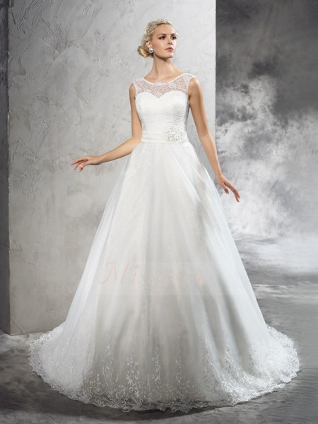 Ball Gown Sleeveless Sheer Neck Sash/Ribbon/Belt Court Train Net Wedding Dresses