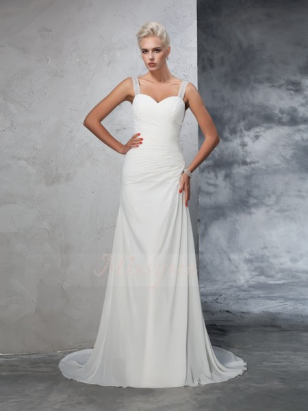 Trumpet/Mermaid Sleeveless Straps Ruched Court Train Chiffon Wedding Dresses