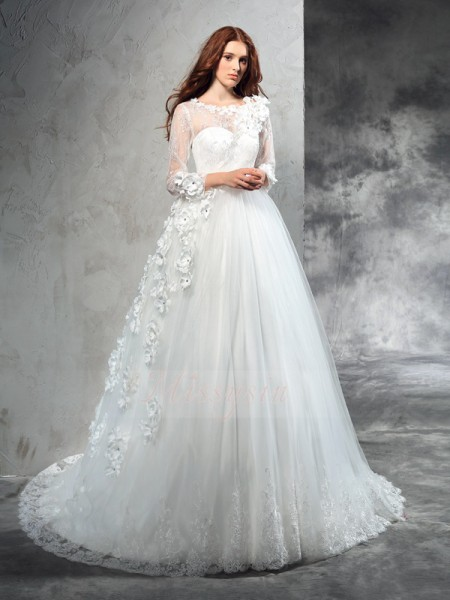 Ball Gown Long Sleeves Sheer Neck Hand-Made Flower Court Train Net Wedding Dresses