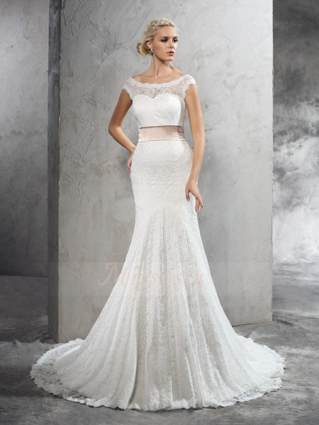 Sheath/Column Sleeveless Sheer Neck Sash/Ribbon/Belt Court Train Lace Wedding Dresses