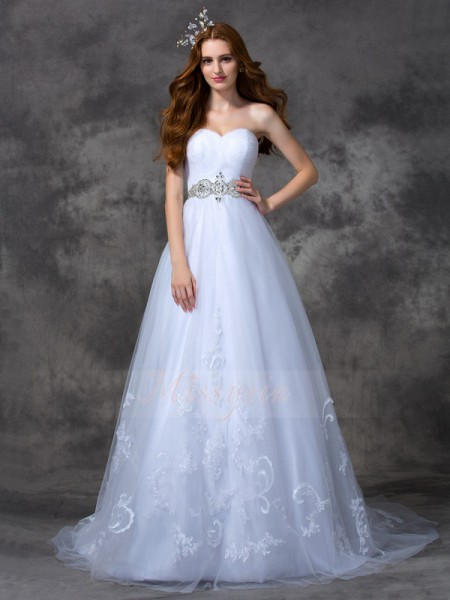 A-line/Princess Sleeveless Sweetheart Beading Sweep/Brush Train Satin Wedding Dresses