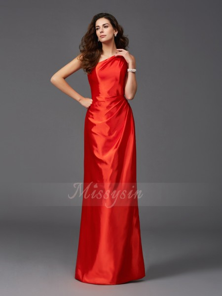Sheath/Column Sleeveless One-Shoulder Other Floor-Length Elastic Woven Satin Bridesmaid dresses