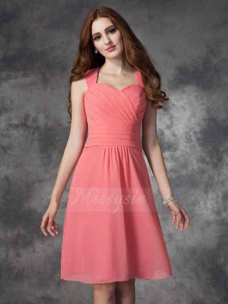 A-line/Princess Sleeveless Straps Ruched Knee-Length Chiffon Bridesmaid Dresses