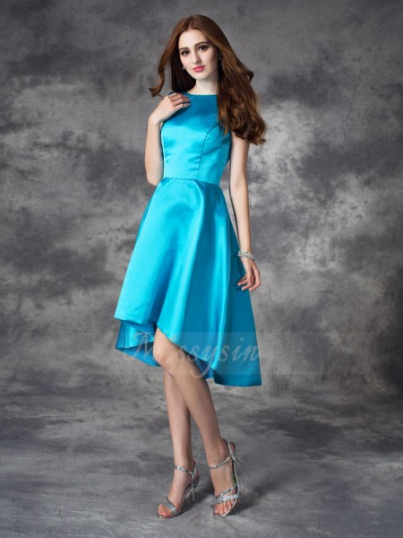 A-line/Princess Sleeveless Bateau Ruffles Asymmetrical Satin Bridesmaid Dresses