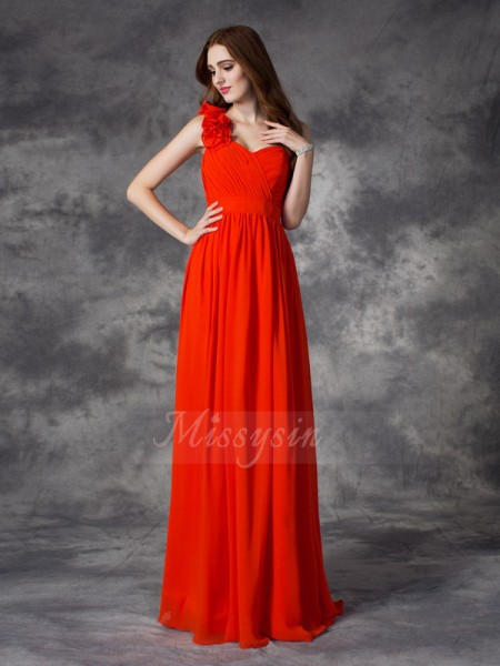 A-line/Princess Sleeveless One-Shoulder Hand-Made Flower Floor-length Chiffon Bridesmaid Dresses