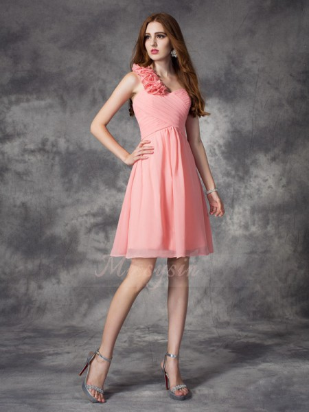 A-line/Princess Sleeveless One-Shoulder Hand-Made Flower Short/Mini Chiffon Bridesmaid Dresses
