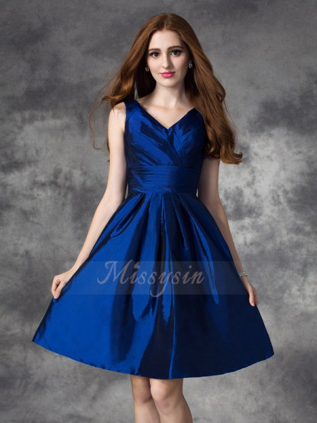 A-line/Princess Sleeveless V-neck Ruched Short/Mini Taffeta Bridesmaid Dresses