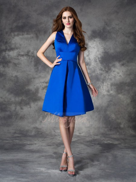 A-line/Princess Sleeveless V-neck Ruched Short/Mini Satin Bridesmaid Dresses
