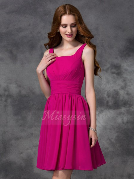 A-line/Princess Sleeveless Square Other Short/Mini Chiffon Bridesmaid Dresses