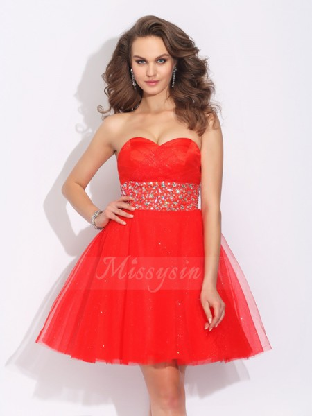 A-Line/Princess Sleeveless Sweetheart Rhinestone Short/Mini Net Cocktail Dresses