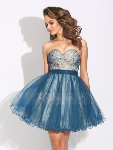 A-Line/Princess Sleeveless Sweetheart Ruffles Short/Mini Net Cocktail Dresses