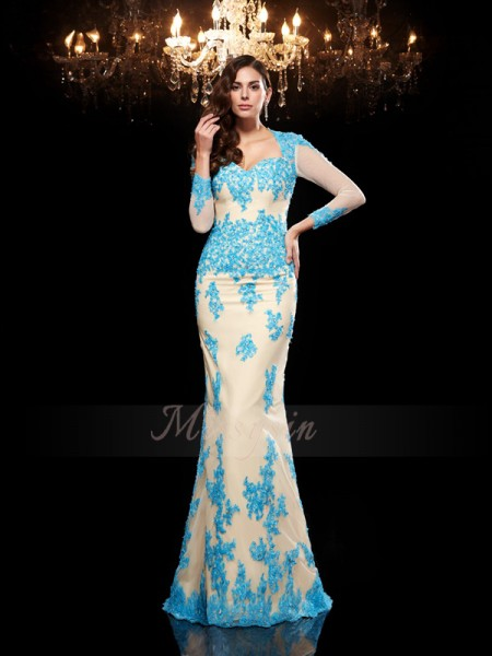 Trumpet/Mermaid 3/4 Sleeves Sweetheart Applique Sweep/Brush Train Net Dresses