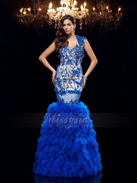 Trumpet/Mermaid Sleeveless Sweetheart Applique Floor-Length Net Dresses