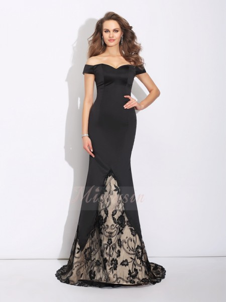 Trumpet/Mermaid Sleeveless Off-the-Shoulder Sweep/Brush Train Satin Dresses