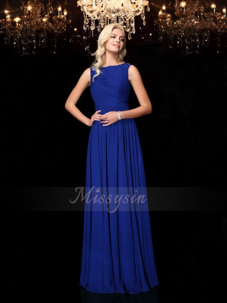 A-Line/Princess Sleeveless Bateau Rhinestone Floor-Length Chiffon Dresses