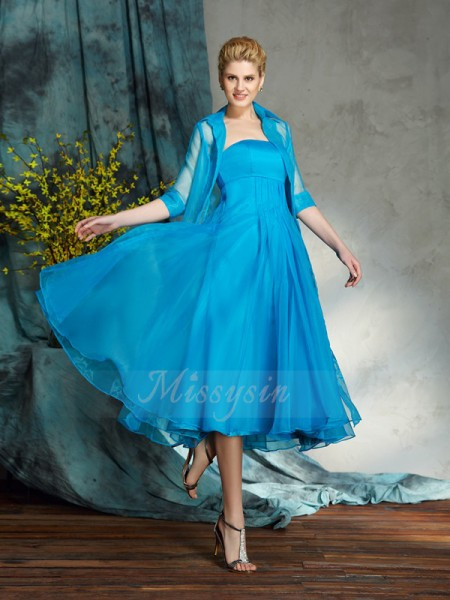 A-Line/Princess Sleeveless Strapless Applique Knee-Length Organza Mother of the Bride Dresses