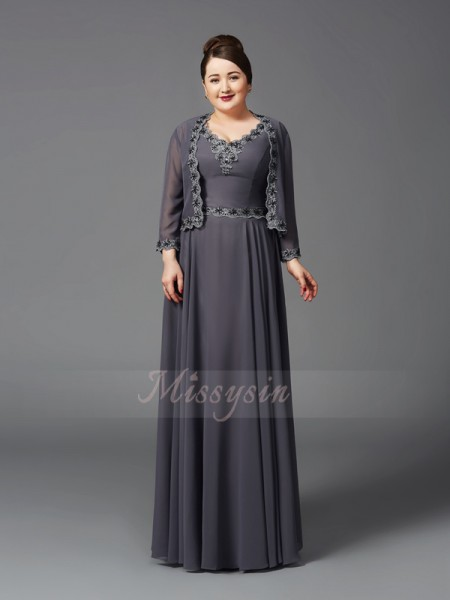 A-Line/Princess Sleeveless Straps Floor-Length Chiffon Mother of the Bride Dresses Plus Size Dresses