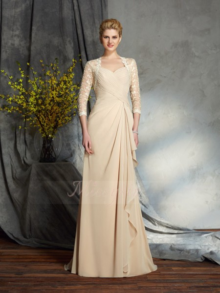 A-Line/Princess 3/4 Sleeves Sweetheart Sweep/Brush Train Chiffon Mother of the Bride Dresses
