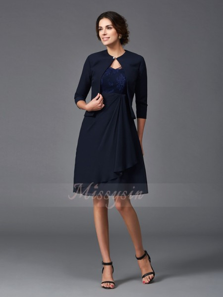 A-Line/Princess 1/2 Sleeves V-neck Knee-Length Chiffon Mother of the Bride Dresses