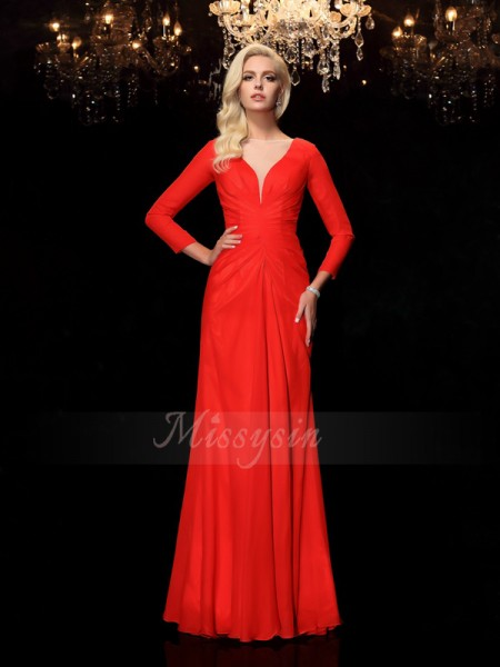 Sheath/Column Long Sleeves Bateau Ruched Floor-Length Chiffon Dresses