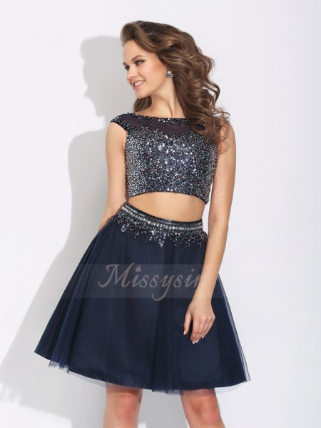 A-Line/Princess Sleeveless Bateau Beading Short/Mini Net Dresses
