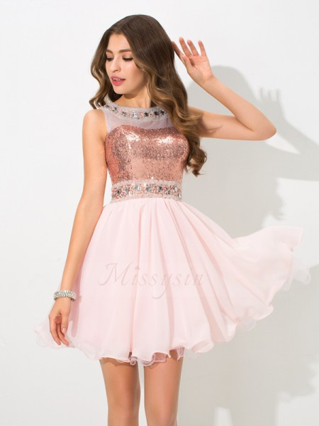 A-Line/Princess Sleeveless Sheer Neck Sequin Short/Mini Chiffon Cocktail Dresses