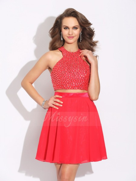 A-Line/Princess Sleeveless Jewel Crystal Short/Mini Chiffon Dresses
