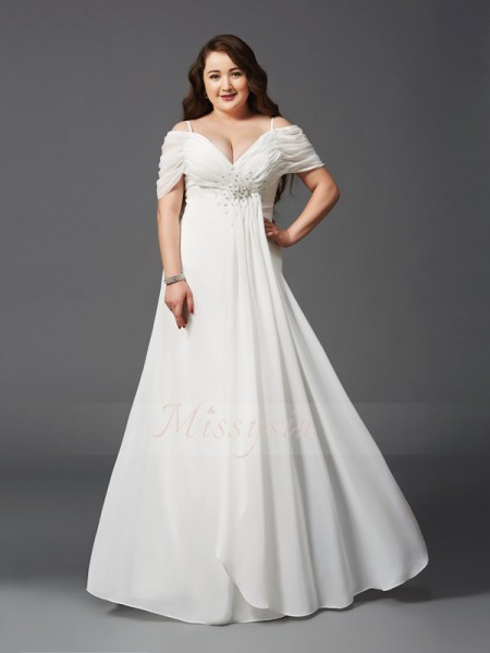 A-Line/Princess Short Sleeves Off-the-Shoulder Ruched Floor-Length Chiffon Plus Size Dresses