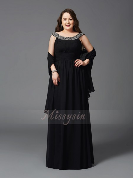 A-Line/Princess Sleeveless Scoop Rhinestone Floor-Length Chiffon Plus Size Dresses